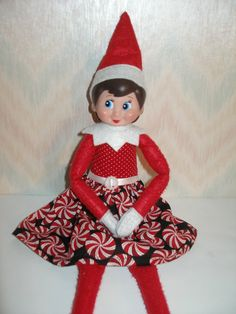 Elf on the Shelf clothes  Red peppermint by TheDesigningRose
