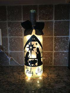 Nativity Wine Bottle light by BERKSWINEDESIGN on Etsy