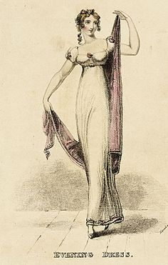 Lady's Magazine, Evening Dress, November 1812.   What a sweet little plate!