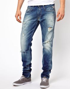 $139, Blue Ripped Jeans: Jeans Anbass Slim Ripped Denim by Replay. Sold by Asos. Click for more info: http://lookastic.com/men/shop_items/38074/redirect