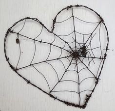 Barbed wire heart twisted with cobweb and spider hec-Corazón de alambre de púas trenzado con telaraña y araña hecha por encargo Barbed wire heart twisted with cobweb by thedustyraven More - Wire Spider, Spider Art, Spider Webs, Wire Crafts, Metal Crafts, Wire Art Sculpture, Wire Sculptures, Abstract Sculpture, Bronze Sculpture
