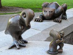 "Detail of ""The Real World"" by Tom Otterness, Nelson Rockefeller State Park, Battery Park City, New York"