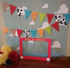 toy story Toy Story Photo booth with props Fête Toy Story, Toy Story Baby, Toy Story Theme, Toy Story Room, Toy Story Crafts, Story Story, Third Birthday, 4th Birthday Parties, Birthday Ideas