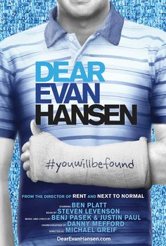 first look at key art for the Broadway transfer of the Pasek and Paul musical Dear Evan Hansen