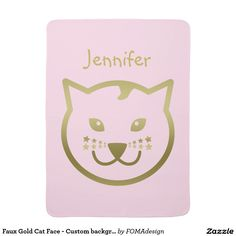 Faux Gold Cat Face and Stars - Custom name and background color / Stroller Baby Blanket #fomadesign