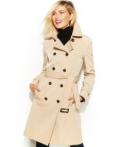 $99 Calvin Klein Double-Breasted Belted Trench Coat - Coats - Women - Macy's