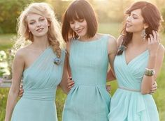 Unique teal bridesmaid gowns #fashion