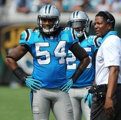 Carolina Panthers linebacker Shaq Thompson stands along the team's sideline during third quarter action vs the Jacksonville Jaguars at EverBank Field in Jacksonville, FL on Sunday, September 13, 2015. The Panthers defeated the Jaguars 20-9.