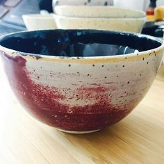 Black and raspberry small bowl