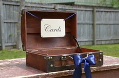 Small Rustic Navy Wedding, Nautical Shabby Chic Trunk, Wooden Card Box