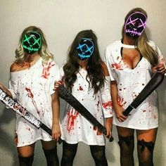 """""""Halloween is coming ! Masque lumineux led La Purge Ce… """"Halloween is coming ! Cute Group Halloween Costumes, Soirée Halloween, Halloween Outfits, Halloween Costumes Bestfriends, Supernatural Halloween Costumes, Costume Ideas For Groups, Sexy Diy Costumes, Trio Costumes, Best Friend Costumes"""