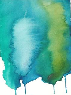 Abstract Art Watercolor Painting Green Blue Home Wall Decor - Free Shipping
