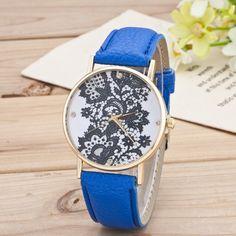 Black Floral Print Watch