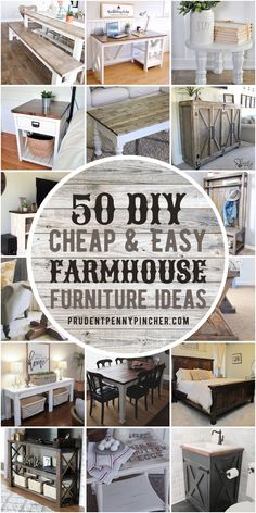 Get the country-chic look for less with these cheap and easy DIY Farmhouse Furniture Ideas. From DIY farmhouse tables to farmhouse benches, there are plenty of DIY ideas for every part of your home including the bedroom, living room, dining room, bathroom and much more! Diy Farmhouse Table, Farmhouse Furniture, Farmhouse Style, Kitchen Furniture, Farmhouse Ideas, Farmhouse Design, Rustic Furniture, Rustic Farmhouse, Do It Yourself Furniture