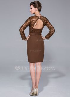 Sheath/Column Sweetheart Knee-Length Chiffon Lace Mother of the Bride Dress With Beading Sequins (008025719)