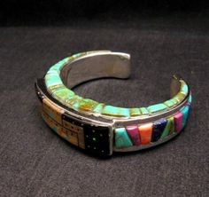 Native American Navajo - Merle House - 3-sided Inlay Bracelet