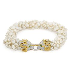 Six Strand Freshwater Pearl Necklace with Two-Color 18k Gold, Diamond and Emerald Lion Head Clasp