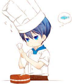 Free! ES ~~ Chibi chef with fish on his mind... :: Haruka Nanase by「うゆゆ」