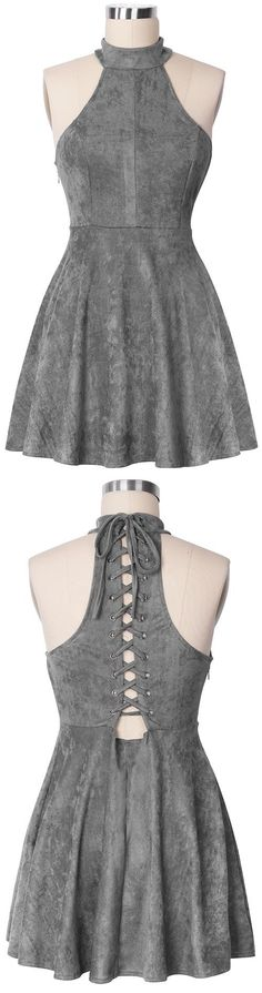 High Neck Grey Homecoming Dress,Suede Lace up Back Graduation Dress,Short A Line Prom Dress 2017 High Neck Grey Homecoming Kleid, Wildleder Lace up Back Graduation Kleid, Short A Line Abendkleid Pretty Dresses, Sexy Dresses, Beautiful Dresses, Casual Dresses, Short Dresses, Fashion Dresses, Formal Dresses, Casual Shoes, Women's Casual