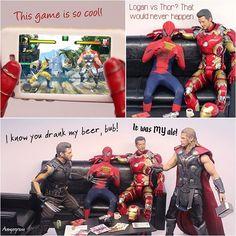 This Marvel Champions game is great. #articulatedcomicbookart #marvel #comics #onesixthscale #onesixthrepublic #hottoys #toyslagram #toystagram #toyspotcollector #toysyn #toyphotography #spiderman #ironman #thor #wolverine #marvelgameofchampions