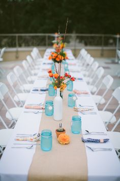 Teal-and-orange-table-decorations