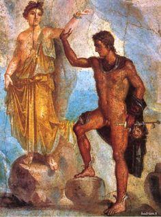 #Pompeii  --  Roman Fresco  --  Perseus & Andromeda  --  1st Century CE  --  Excavated @ Pompeii  --  Belonging to the National Archaeological Museum  --  Naples, Italy