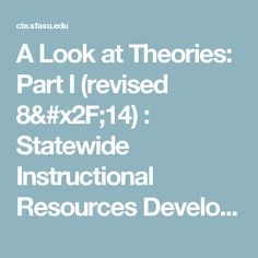 A Look at Theories: Part I (revised : Statewide Instructional Resources Development Center Human Growth And Development, Lesson Plans, How To Plan, Lesson Planning