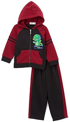 b9e4d42628cb Amazon.com  ToBeInStyle Boy s Zip Up Hoodie and Pants Sweat Set - Navy Grey  - Dinosaur - 12M  Clothing