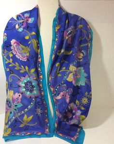 """14""""x72"""" Hand Painted Silk Oblong Scarf Floral in Blue Turquoise Magenta and Olive. by LeslieSilkStudio"""