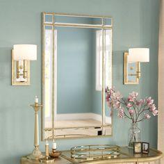 Willa Arlo Interiors Kallas Rectangular Gold Wall Mirror Finish: Gold & Clear Mirror, Size: H x W Gold Bathroom Accessories, Mirror Inspiration, Round Wall Mirror, Wall Mirrors, Wall Mirror Ideas, Art Deco Mirror, Glass Center, Gold Walls, Bathroom Colors