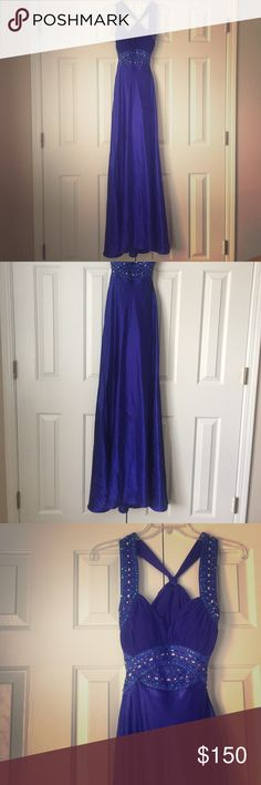 Hailey by Adrianna Papell Violet Blue Satin Dress Beautifully detailed, sweetheart halter, open back, beaded violet blue(ish) purple floor length dress. My FAVORITE dress. I wore it once for my Senior prom and then never had any other use for it. Great condition, only worn that one night. Has a few loose sequins that can easily be pulled back in and has one small dark spot on the back directly under the heading, but with the material and the sash in the back is not noticeable.    comment…