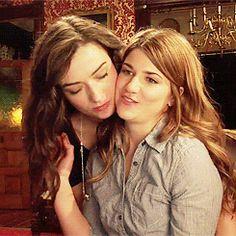 Carmilla S2E01 Cuddles, featuring Useless Lesbian Vampire Carmilla and Tiny Gay Laura.  Gif via Negovanman.