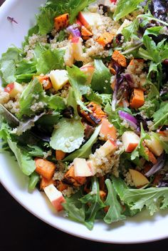 roasted sweet potato, apple, and quinoa salad with maple cider vinaigrette