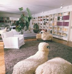 """1,857 Likes, 21 Comments - Architectural Digest (@archdigest) on Instagram: """"Inside Yves Saint Laurent and Pierre Bergé's Paris library, a herd of sheep sculptures by artist…"""""""
