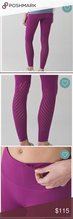 NWT lululemon enlighten tight regal plum size SM NWT lululemon enlighten tight size small. I'm a size 4 in lulu pants and these fit perfect. Just not my color. Never worn. Tags still attached. These were limited edition. lululemon athletica Pants