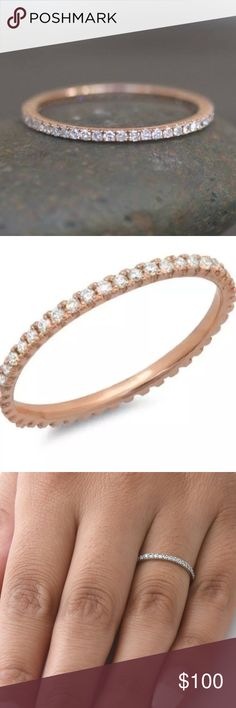 💕.20Ct Natural Diamond 14K Rose Gold Band $800 MSRP 0.20 Ct Natural Diamond Eternity Stackable Ring    Type:	Ring Main Stone Shape:	Round  Style:	Wedding Band Clarity:	I2-I3  Metal:	14K Rose Gold Plated Over Solid Sterling Silver Diamond Color:	I-J	 Metal Purity:	925 Cut:	Very Good Total Carat Weight (TCW):	0.20 Setting Type:	Prong Main Stone:	Diamond Main Stone Treatment:	Not Enhanced Sizable:	Yes				 Main Stone Creation: Natural/Earthmined Jewelry Earrings