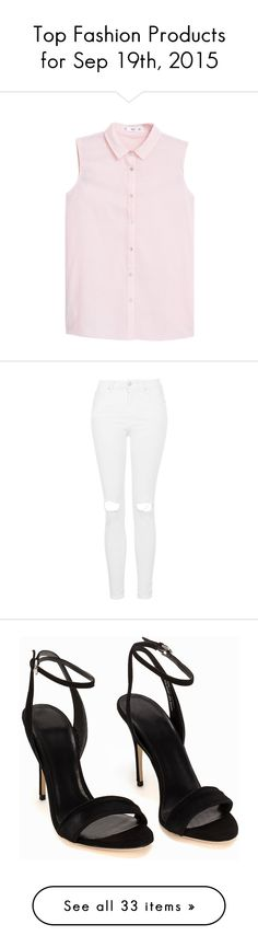 """Top Fashion Products for Sep 19th, 2015"" by polyvore ❤ liked on Polyvore featuring tops, shirts, pastel pink, pink collared shirt, shirts & tops, collared shirt, cotton sleeveless tops, sleeveless collared top, jeans and pants"