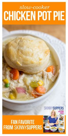 Slow Cooker Chicken Pot Pie - A lightened-up version of a classic favorite! #recipes #skinnymeals #skinnysuppers #skinnymom