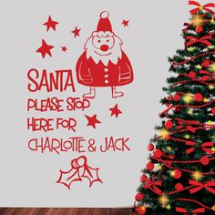 PERSONALISED NAMES CHRISTMAS STICKER - SANTA STOP HERE - Wall / Window Decal #TransfersStickers