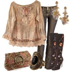 <3 This!! <3  !! My every day style ... Boho type blouse, jeans, earrings.    Estilo Boho Chic