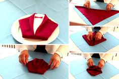 Tuto: a nice towel fold for New Year's Eve – Ideas by cdrion Napkin Folding, Wine Bottle Crafts, Diy Table, Table Linens, Event Design, Nouvel An, Christmas Diy, Origami, Diy And Crafts