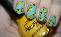 Nail art tutorial by Polish You Pretty. Click the photo to see the full tutorial for Go Bananas!