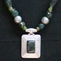 Jasper and silver Tuareg amulet with jasper, agate and recycled glass beads.