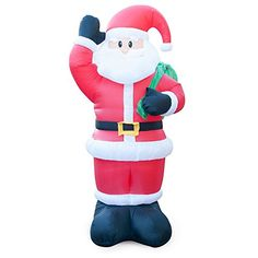 Holidayana 8 Ft Animated Waving Santa Inflatable Christmas Lawn Decoration Inflatable outdoor decorations are the best due to ease of storage and setup. Animated Christmas Decorations, Outside Christmas Decorations, Christmas Yard, Holiday Decor, Yard Decorations, Christmas Inflatables, Cool Animations, Smurfs, Santa