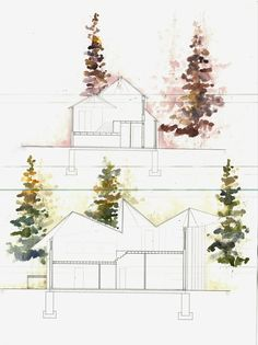 Illustrator and AutoCAD possibly used to make the structure, with watercolor…