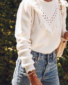 Fringe sweater + denim.