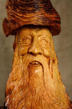 Wood Spirit Wood Carving Elf Wizard Unique by TreeWizWoodCarvings, $128.00