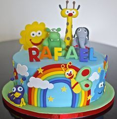 Baby TV - Cake by Partymatecakes Baby Tv Cumpleaños, Baby Tv Cake, Fondant Cakes, Cupcake Cakes, Cake Designs For Boy, Baby Birthday Cakes, Cakes For Boys, Love Cake, Cute Cakes