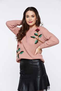 Rosa casual knitted flared sweater with floral details, women`s sweater, floral details, easy cut, knitted fabric