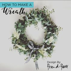 DIY Wreath.  Learn how to make a wreath with london designer Friend of Faux and Afloral.com faux greenery.  Follow this simple steps and create your own wreath for the holidays or upcoming DIY wedding.  Decorate your front door with a Christmas wreath or use a a backdrop in your wedding to add some lush greenery.